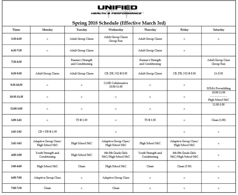 Spring 2018 Schedule